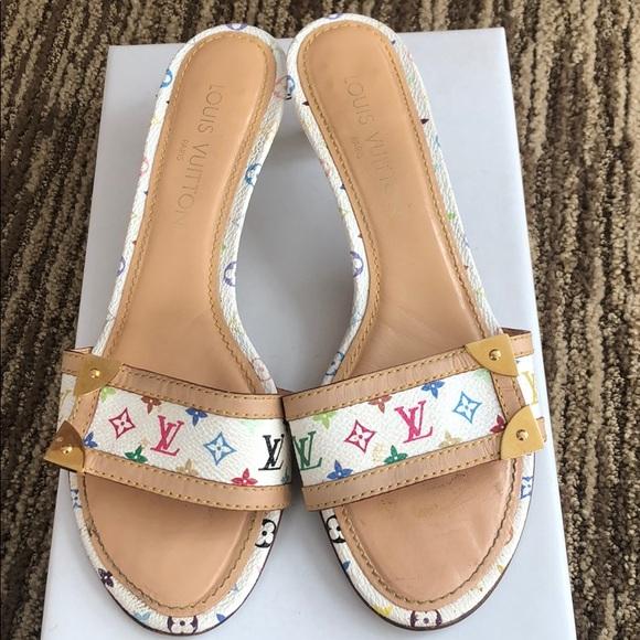 white louis vuitton sandals